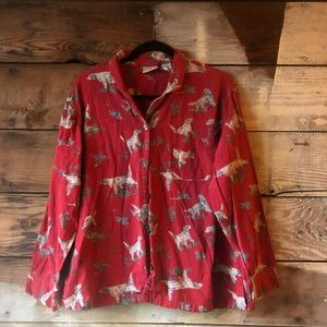 L.L. Bean Red Button Down Dog and Pheasant Top Lg.